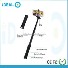 Ideal Foldable Selfie Stick With Power Bank and LED Flashlight