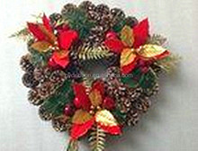 Designer Pre-Decorated RED and Green Outdoor Pinecone Wreath for Christmas