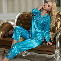 Elegant night gown lady woman girls sexy silk long sleeve nightwear with shorts for home house robe wholesale china