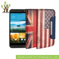Wholesale For HTC One M9 Luxury 2 in 1 Retro National Flag Leather Wallet Case Cover Free Shipping