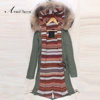 Gentlmen Lamb fur long style raccoon collar big hood winter male parka