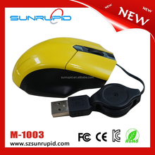 Popular mini mouse, usb optical mini mouse with retractable cable for small hand