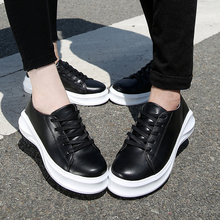 M1132 Lovers shoes korean style fashion casual lace up sneakers women men genuine leather platform shoes
