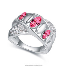 Fashion simple alloy Sterling Silver crystal ring for women