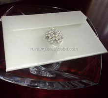 Beautiful Ivory Satin or Silk Invitation Purse Folio with Pearl Brooch with Silver
