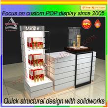 Custom high end acrylic wood retail makeup display rack/makeup shop design/makeup shop furniture