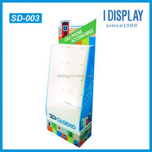 cardboard cell phone accessory display stand with hooks for retail