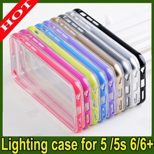 Flash LED coming call Lighting cover Case For iphone 5 5S 6 6 Plus