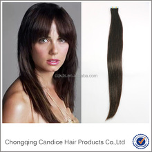 Top grade 7A long 1b black silky straight remy virgin tape hair extension for wonmen