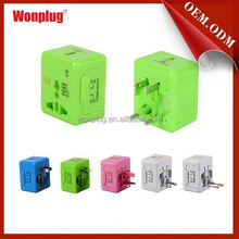 Wonplug patented newest designer CE,RoHS approved all in one travel travel plug swiss world travel adapter with usb port