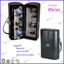 best selling products 2014 single bottle leather wine bag carrier for leather wine boxes D06-220