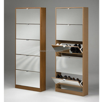 Super Quality Closed Iron Shoe Cabinet Design Black-white Color Shoe Rack Standing Mirror Shoe Cabinet