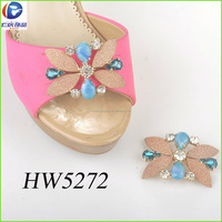 The handmade shoes flower glue abrasive paper with copper and rhinestone for shoes accessories