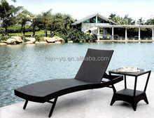 newest item pool lounge single people chair with side table grey rattan lounge