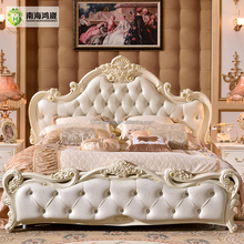 Modern Luxury Royal French Baroque Rococo Style King Queen Size Cream White Buttoned Diamond Leather Headboard Upholstery Bed