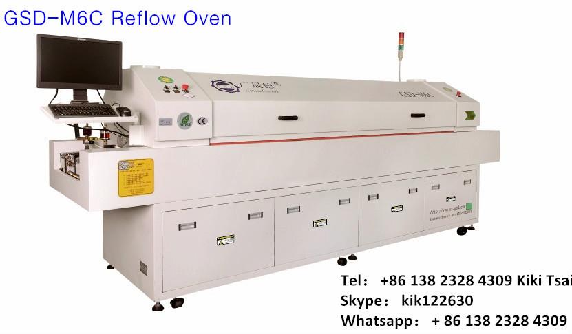 Gsd-m6c печь для печатной платы, из светодиодов, smt, smd пайка, 6 вверх / вниз зоны нагрева с / инфракрасное отопление машина