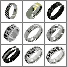 fashion stainless steel jewelry manufacturer mens silver engagement ring