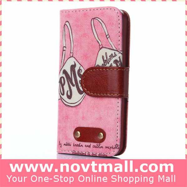 flip phone accessoires with card slots for iphone 5 5s pu leather cover mobile