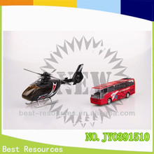 Die cast metal model pull back bus and helicopter with sound &light