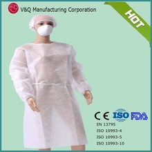 Factory disposable isolation gown/visit coat with CE ISO FDA certificates