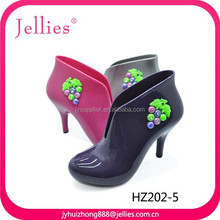 2015 fashion PVC sandals crystal injection heel jelly shoes plastic beach shoes
