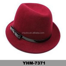 High Quality Marsala Bulk Sale Custom Made 100% Wool Felt Mens Women Short Brim Fedora Hat Wholesale