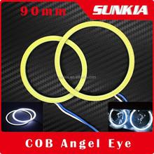 90mm COB Angel Eye DRL Waterproof LED Lighting Auto Headlight With 2 Lampshades Super Bright