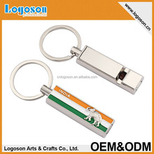 2015 top quality zinc alloy silver finish gift souvenir India whistle keychain