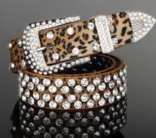 Leopard print genuine leather pin buckle belt for lady Crystal embellished adjustable leather women belt
