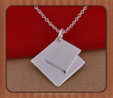 925 Sterling Silver Square Double Tag Charm or Pendant for Bracelets or Necklaces