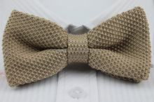 Yong Men Fashion Plain Color Knitted light brown Bow Tie