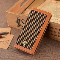 Latest Design PU Leather Case For iPhone 6 Phone Case With Tweed Fabric & PU for iPhone 6 Mobile Wallet Case