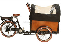 CE bakfiets family front loading cargo electric delivery tricycle with cabin box china