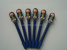 lovely school girl toy polymer clay pen