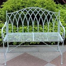 Gothic vintage blue outdoor folding iron garden bench