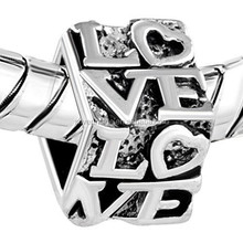 Silver Plated Forever Love Lover European Bead bracelet charms
