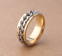 Brand New Fashion Christmas Gift Cool Stainless Steel Gold RingChain Silver 8mm Wide Band