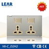 Classic design Metal plate 2 gang electric wall switch socket