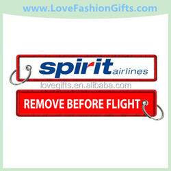Spirit Airlines-Remove Before Flight Embroidered Key Ring/Key Fobs