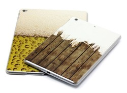 beer pattern case for iPad air 2,half transparent relief wood case for iPad mini 2