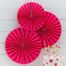Neon Pink Party Pinwheel Decorations Paper Fans Backdrop Hanging Paper Fans Solid Color Party Round Hanging Decoration