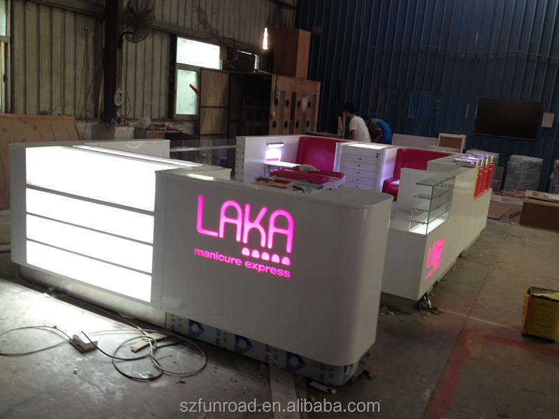 Customized nail bar design for shopping mall, manicure tables nail bar