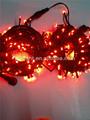 Rgyb de caucho negro de navidad alambre de un solo color rojo parpadea la luz de cadena,