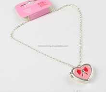 Alloy girls sweet heart and bowknot necklace with red enameled