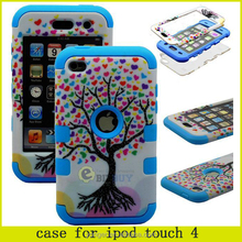 3 in 1 Love Heart Tree Pattern Detachable Hybrid Silicone+PC Case for ipod touch 4