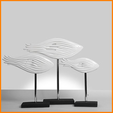 Home Decoration creative crafts group fish fish ornament ornaments soft furnishings entrance feng shui design three-piece