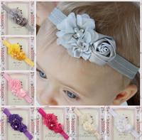 Wholesale newborn Chiffon Flower baby hair headband,Pink Satin Rosette Baby headband Photography