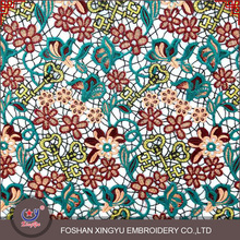 Top quality custom colourful key and flower pattern austrian embroidery designs on lace cutwork fabric