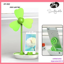 cooling plastic electrical handle USB mini table fan with phone holder