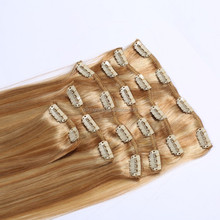 2015 hot selling factory supply cheap full head colored double weft clip in bresilienne hair extensions